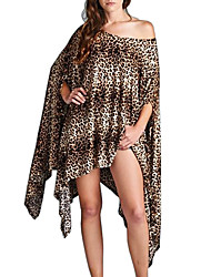 cheap -Women's Batwing Sleeve Sheath Swing Dress - Leopard Color Block, Split Asymmetrical Off Shoulder