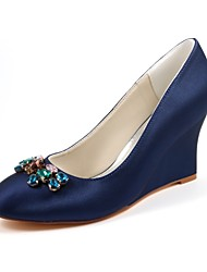 cheap -Women's Shoes Stretch Satin Spring Fall Basic Pump Wedding Shoes Wedge Heel Round Toe Crystal for Dress Party & Evening Dark Blue