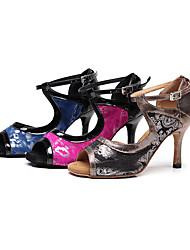"cheap -Women's Latin Synthetic Microfiber PU Sandal Indoor Pattern / Print Stiletto Heel Coffee Dark Red Blue 3"" - 3 3/4"" Customizable"