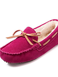 Women's Shoes Cowhide Spring Fall Comfort Boat Shoes Flat Heel for Casual Almond Fuchsia Dark Blue