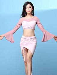 baratos -Devemos vestir roupas de dança da barriga feminina, modal, dividido, união, bandagem, manga longa, soltas, saias, tops