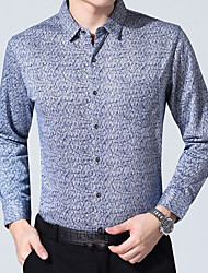 Langt Ærme Krave Herrer Trykt mønster Forår Efterår Vintage Bryllup Daglig Skjorte,Polyester