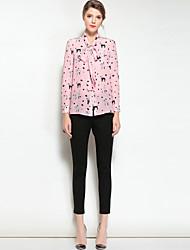 baratos -Mulheres Camisa Social Vintage Estampa Animal Colarinho de Camisa