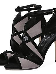 preiswerte -Damen Schuhe Nubukleder Frühling Sommer Komfort Sandalen Stöckelabsatz für Schwarz Grau