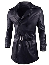cheap -Men's Casual Long Plus Size Leather Jacket-Solid Colored