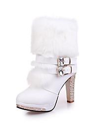 Feminino Sapatos Couro Ecológico Inverno Outono Conforto Botas Salto Robusto Ponta Redonda Botas Cano Médio para Casual Branco Preto