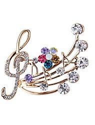 cheap -Women's Music Notes Rhinestone Imitation Diamond Brooches - Classic / Fashion Gold Brooch For Daily
