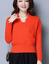 preiswerte -Damen Langarm Pullover - Solide V-Ausschnitt