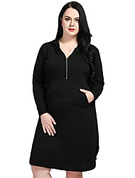 cheap -Cute Ann/Really Love Women's Work Active Street chic Loose Shift T Shirt Dress - Solid Colored