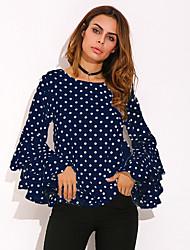 cheap -Women's Sports Casual/Daily Cute Active All Seasons Wrap,Polka Dot Round Neck Long Sleeve Others Medium
