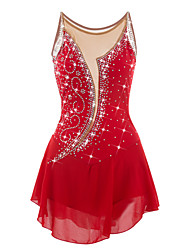 cheap -Figure Skating Dress Women's Girls' Ice Skating Dress Red Rhinestone High Elasticity Performance Skating Wear Anatomic Design Handmade