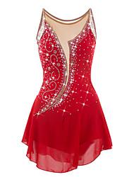 abordables -Robe de Patinage Artistique Femme Fille Patinage Robes Rouge Strass Haute élasticité Utilisation Tenue de Patinage Design Anatomique Fait