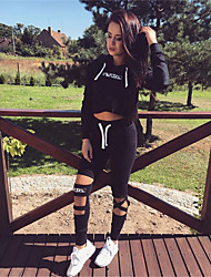 cheap -Women's Casual/Daily Simple Spring Fall Hoodie Pant Suits,Print Hooded Long Sleeve Sexy Polyester