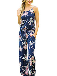 cheap -Women's Holiday Going out Vintage Sexy Boho Floral Strap JumpsuitsWide Leg Sleeveless Summer Fall Polyester