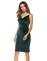 baratos -Mulheres Bandagem Delgado Tubinho / Bainha Vestido Sólido Decote V Acima do Joelho