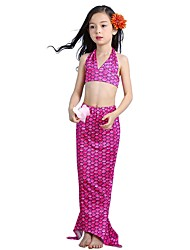 cheap -The Little Mermaid Skirt Swimwear Kid Halloween Festival / Holiday Halloween Costumes Green Blue Fuchsia Mermaid