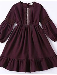 cheap -Girl's Solid Dress, Cotton Winter Fall Long Sleeves Vintage Brown