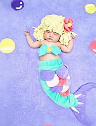 bébé Ensemble de Vêtements Fille Anniversaire Vacances Points Polka Arc-en-ciel Spandex Eté Sans Manches Actif Vert