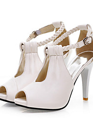 cheap -Women's Shoes Synthetic Microfiber PU Spring / Summer Comfort / Novelty Sandals High Heel Peep Toe Buckle White / Black / Beige / Wedding