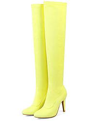 cheap -Women's Shoes Nubuck leather Spring / Fall Comfort / Novelty / Fashion Boots Boots Flat Heel Pointed Toe Knee High Boots Yellow / Fuchsia