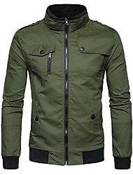 cheap -Men's Daily Casual Winter Fall Jacket,Solid Stand Long Sleeve Regular Cotton Polyester