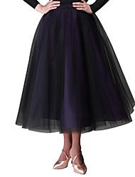 preiswerte -Für den Ballsaal Unten Damen Leistung Tüll Samt Chiffon Schleife(n) Ärmellos Normal Röcke Taille Accessoire