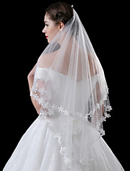 cheap -One-tier Modern Style Bridal Princess Simple Style Wedding Modern/Contemporary Wedding Veil Elbow Veils 53 Appliques Lace Lace Tulle
