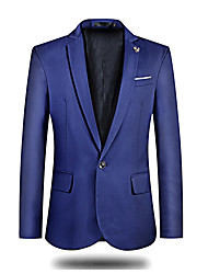 cheap -Men's Daily Work Street chic Spring Fall Blazer,Solid Peaked Lapel Long Sleeve Regular Polyester