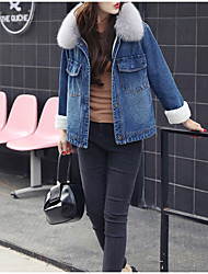 cheap -Women's Casual/Daily Simple Winter Fall Denim Jacket,Solid Shirt Collar Long Sleeve Short Cashmere Cotton