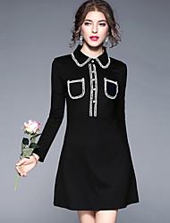 cheap -YHSP Women's Street chic A Line Sheath Dress - Color Block Shirt Collar