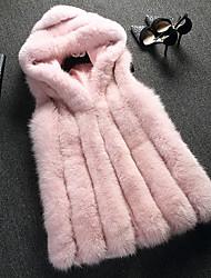 economico -Cappotto di pelliccia Da donna Quotidiano sofisticato Inverno Autunno,Tinta unita Con cappuccio Pelliccia di volpe Standard Senza maniche
