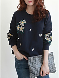 abordables -Pull à capuche & Sweatshirt Femme Grandes Tailles Sortie Chic de Rue Broderie Col Arrondi Micro-élastique Coton Polyester Manches longues