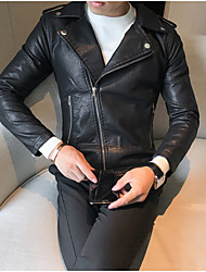 cheap -Men's Casual/Daily Vintage Fall Leather Jacket,Solid Shirt Collar Long Sleeve Short Polyester Pleated