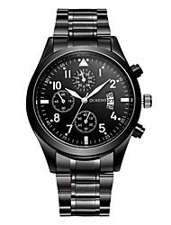 Недорогие -Муж. Модные часы Наручные часы Китайский Кварцевый Календарь Нержавеющая сталь Группа На каждый день Черный