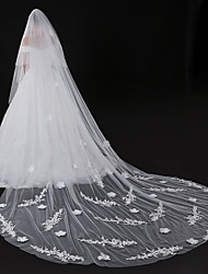 cheap -Two-tier Modern Style Flower Style Accessories Lace Applique Edge Oversized Bridal Princess European Lace Wedding Wedding Veil Blusher