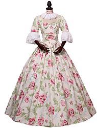 abordables -Victorien Rococo Costume Adulte Costume Bal Masqué Costume de Soirée Arc-en-ciel Vintage Cosplay Tissu en Coton Éponges naturelles