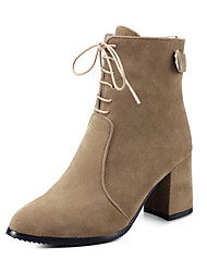 cheap -Women's Shoes Leatherette Winter Fashion Boots Boots Chunky Heel Pointed Toe Booties/Ankle Boots for Casual Dress Black Gray Khaki