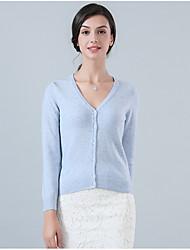 Standard Cashmere Da donna-Casual Semplice Tinta unita Rotonda Manica lunga Nylon Inverno Sottile Anelastico