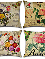 cheap -4 pcs Cotton/Linen Pillow Cover, Floral Bohemian Style Retro