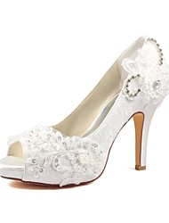 cheap -Women's Shoes Stretch Satin Spring / Summer Basic Pump Wedding Shoes Stiletto Heel Peep Toe Crystal / Pearl Ivory / Party & Evening