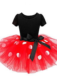 cheap -Girl's Christmas Daily Solid Polka Dot Print Dress,Cotton Polyester Spring Fall Short Sleeves Cute Cartoon Princess Red Fuchsia