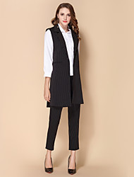 cheap -SHE IN SUN Women's Daily Work Casual Street chic Fall Vest,Striped Shirt Collar Sleeveless Long Polyester