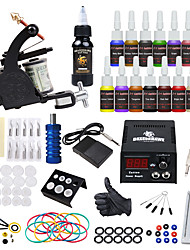 cheap -Tattoo Machine Starter Kit 1 alloy machine liner & shader LCD power supply 1 x aluminum grip 20 pcs Tattoo Needles