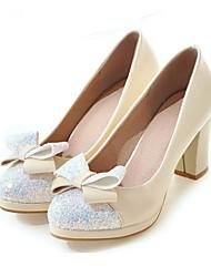Недорогие -Жен. Обувь Полиуретан Весна / Осень Удобная обувь / Оригинальная обувь Обувь на каблуках На толстом каблуке Круглый носок Бант Черный /
