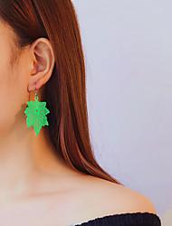 Недорогие -Жен. Серьги-слезки - В форме листа Мода, Крупногабаритные Желтый / Пурпурный / Зеленый Назначение Повседневные Карнавал