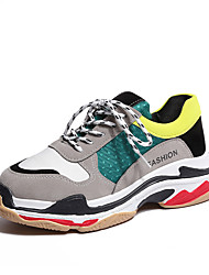 cheap -Women's Shoes Breathable Mesh PU Spring Fall Comfort Athletic Shoes Running Shoes Flat Heel Round Toe Gore for Athletic Casual Gray Green