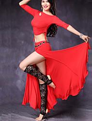 abordables -Danse du ventre Tenue Femme Utilisation Modal Fendue Bandeau Demi Manches Taille basse Jupes Haut