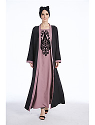 baratos -Mulheres Diário Trabalho Boho Moda de Rua Solto Jalabiyah Longo Vestido,Flor Estampa Colorida Jacquard Decote Redondo Manga Comprida