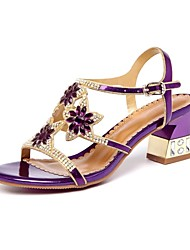 cheap -Women's Shoes PU Spring Summer Gladiator Sandals Chunky Heel Peep Toe Rhinestone Crystal for Party & Evening Gold Purple Blue