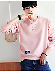 cheap -Men's Plus Size Long Sleeves Sweatshirt - Solid Colored Round Neck